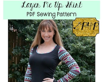 Layer Me Up Shirt Tunic Sewing PDF Pattern by Patterns for Pirates Sizes XXS-Plus 3X Tank, Top, Stylish, Modern, Trendy, fitted, long sleeve