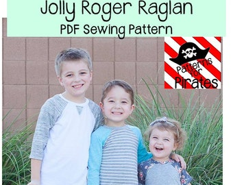 Jolly Roger Raglan Shirt Sewing PDF Pattern Sizes 3months to 14 For Boys or Girls- Modern and Stylish