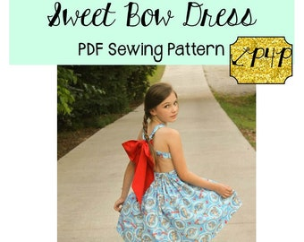 Sweet Bow Dress and Top Sewing PDF Pattern Sizes 3months to 14 For  Girls- criss cross straps, bow back, sweetheart Patterns for Pirates