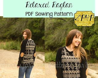 Women's Relaxed Raglan Shirt and Tunic Sewing PDF Pattern by Patterns for Pirates Sizes XXS-Plus#X Knit, Top, Long Short 3/4 Sleeve,Baseball