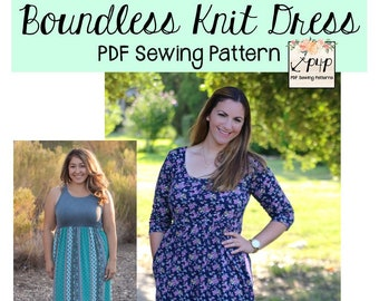 Boundless Knit Dress Sewing PDF Pattern by Patterns for Pirates Sizes XXS-Plus 3X Tank, short long sleeve, Stylish, Modern, Trendy, maxi