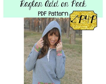 Add On Pack to the Womens Raglan Shirt and Tunic  Sewing PDF Pattern by Patterns for Pirates Sizes XXS-XXXL Knit,  top, hood collar cowl