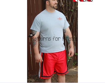 Mens BBall Shorts Sewing PDF Pattern Sizes XXS-XXL for boys or adult men- Modern, Stylish, Comfortable, Workout Wear