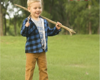 The Lumberjack Shirt- flannel button up shirt or jacket for baby and boys sizes 3m-14 PDF Sewing Pattern by Patterns for PIrates