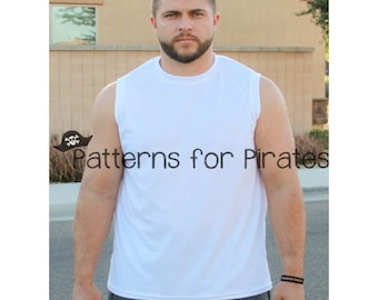 Mens Muscle Tank PDF Sewing Pattern for Boys to adult Men sizes- XXS-XXXL athletic, sports wear, workout, comfortable knit top