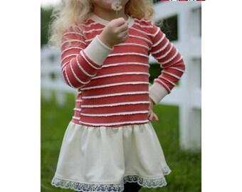 Buried Treasure Tunic PDF Sewing Pattern- knit shirt for girls sizes 3m-14
