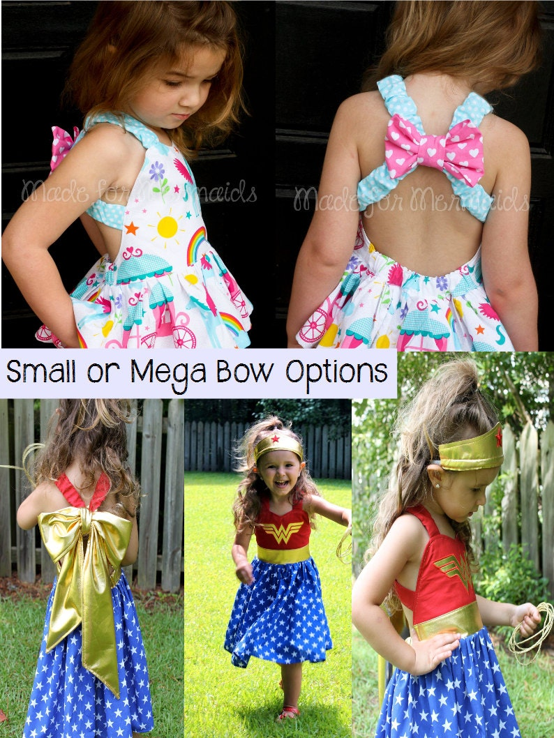 f5a96e3b41b7d3 Sweet Bow Dress and Top Sewing PDF Pattern Sizes 3months to 14