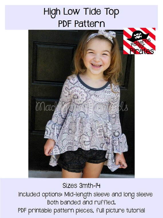 High Low Tide Top Pdf Sewing Pattern Knit Shirt For Girls Etsy