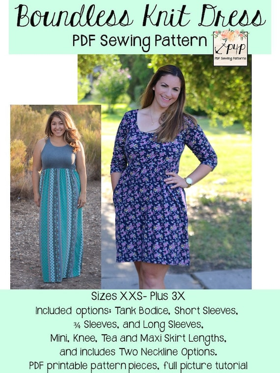 Boundless Knit Dress Sewing Pdf Pattern By Patterns For Etsy