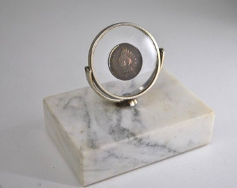 Rare Vintage 1978 LOWELL SIGMUND CLEVELAND Indian Key Chain Ring Solid Brass on Marble Paper Weight