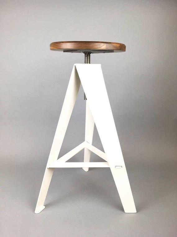 White Windmill Stool, Counter Height, Walnut Seat, adjustable height,  metal, swivel seat, furniture, rustic, modern furniture, kitchen stool
