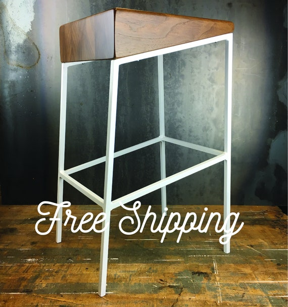Tremendous Wedge Counter Stool Raw Metal Legs Walnut Wood Seat Industrial Style Contemporary Bar Stool Modern Design Gmtry Best Dining Table And Chair Ideas Images Gmtryco