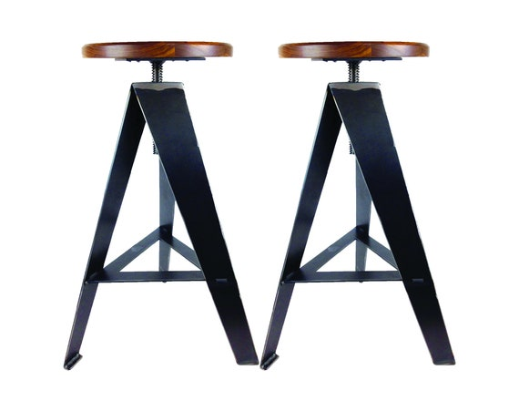 Sensational Windmill Counter Stool Set Of 2 Raw Metal Legs Walnut Seat With Height Adjustment Swivel Industrial Metal Modern Rustic Game Room Gmtry Best Dining Table And Chair Ideas Images Gmtryco