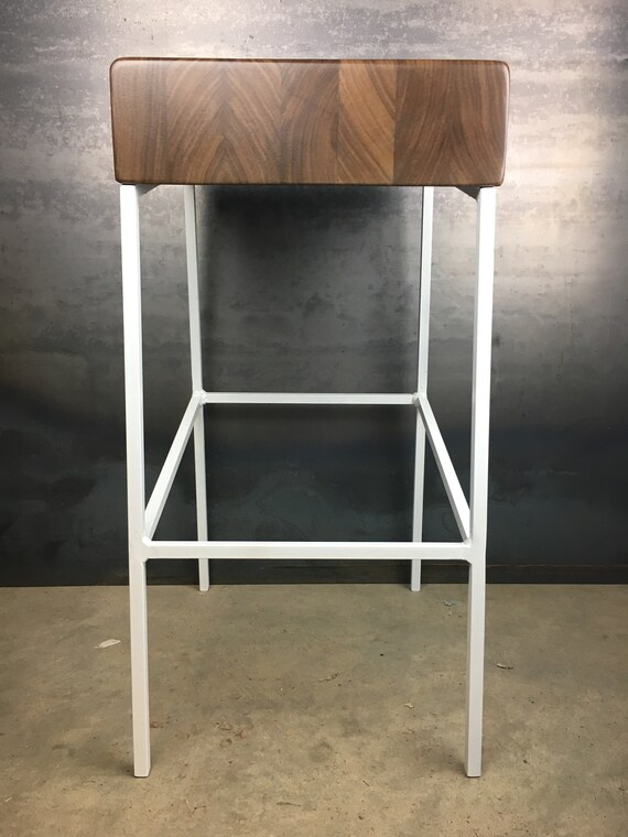 Pleasant Wedge Counter Stool Raw Metal Legs Walnut Wood Seat Industrial Style Contemporary Bar Stool Modern Design Gmtry Best Dining Table And Chair Ideas Images Gmtryco