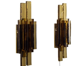 GLASS SCONCES (pair) by Holm Sorensen, 1960s. Danish mid century design. Rare pair of beautiful dark gray glass and brass wall lights