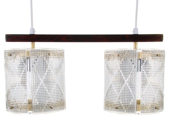 DOUBLE CRYSTAL light fixture by Eriksmålaglas, 1950s. Scandinavian mid century design. Attractive crystal glass and rosewood hanging light