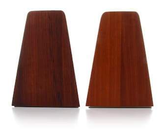 2 TEAK BOOKENDS (pair), 1960s. Mid-century Danish design. Set of two beautiful teak bookends off-white steel bases