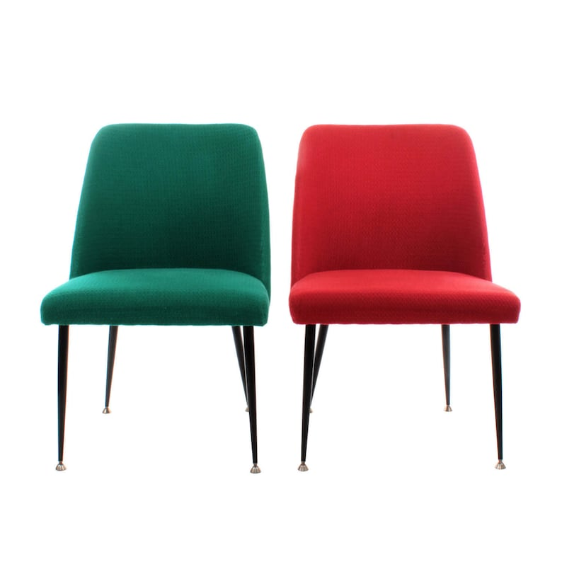 1950s Accent Chairs.Pair Of Accent Chairs Ca 1950s Mid Century Danish Design Stylish Set Of Green And Red Accent Chairs Or Slipper Chairs With Black Legs