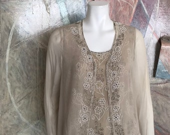 e2534f4d84533d Vintage Adrianna Papell Occasions Silk Beaded Blouse Set SZ 10