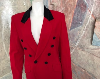 d074fa985581 Vintage Lord & Taylor Red Black Double Breasted Wool Blazer Jacket Petites  Size 8