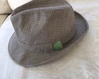 ecaeb2e0c0cfa Vintage Sears Womens Wool Tweed Fedora Hat Size 7-7 1 8 Size 7