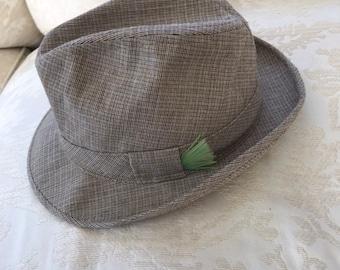 a0ef05dbf97 Vintage Sears Womens Wool Tweed Fedora Hat Size 7-7 1 8 Size 7