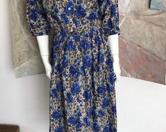 c825cf2b Vintage J. Jill Ltd Blue Floral Midi Tea Length Dress Size Medium