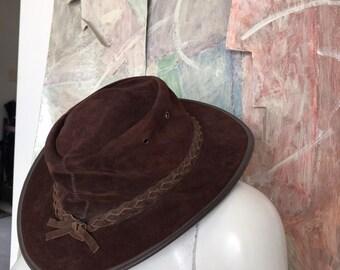 957fba4204e93 Vintage Barmah Australia Womens Brown Suede Leather Cowboy Hat Size XL
