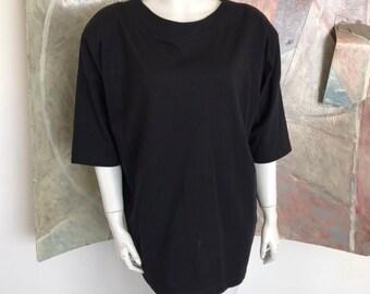 ff78c556 Vintage DB David Benjamin Sport Black Shirt Shoulder Pads Blouse Top Size  Large