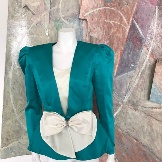 Vintage Leslie Fay Evenings Bow Tie 1980s 80s Gree