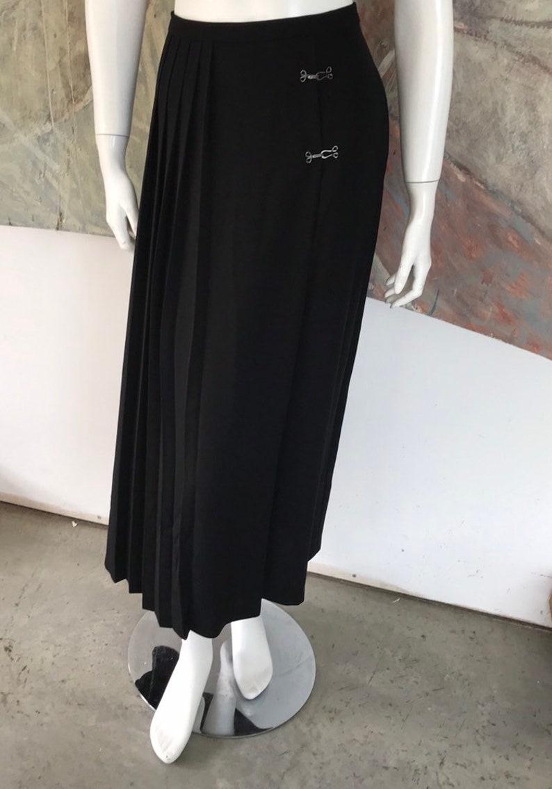 Orvis Black Pleated Fishhook Midi Mid Calf Skirt Size 10