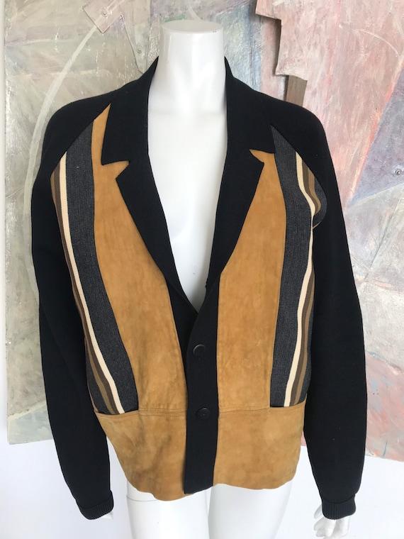 Vintage Suede Leather Wool Striped Black Beige Gre