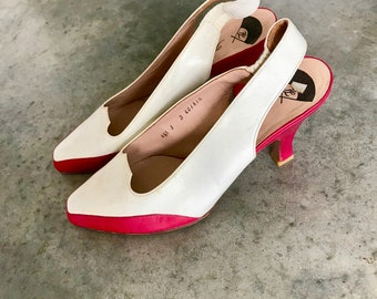 Karl Lagerfeld Red White Leather Heels - Modern SZ 6 / 6.5 - Karl Lagerfeld Heels - Karl Lagerfeld Pumps