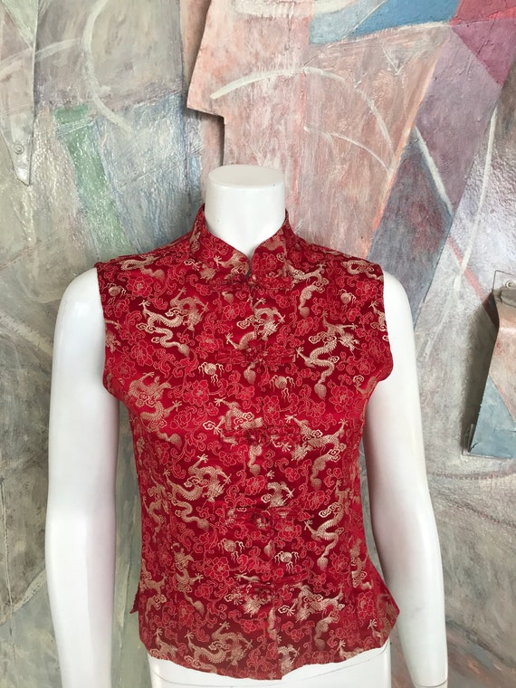 Mandala Red Silk Dragon Asian Oriental Sleeveless