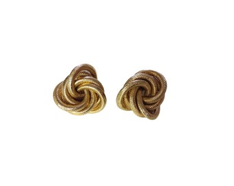 Gold Plated Rope Coil Statement Clip on Earrings - 1950s, 1960s