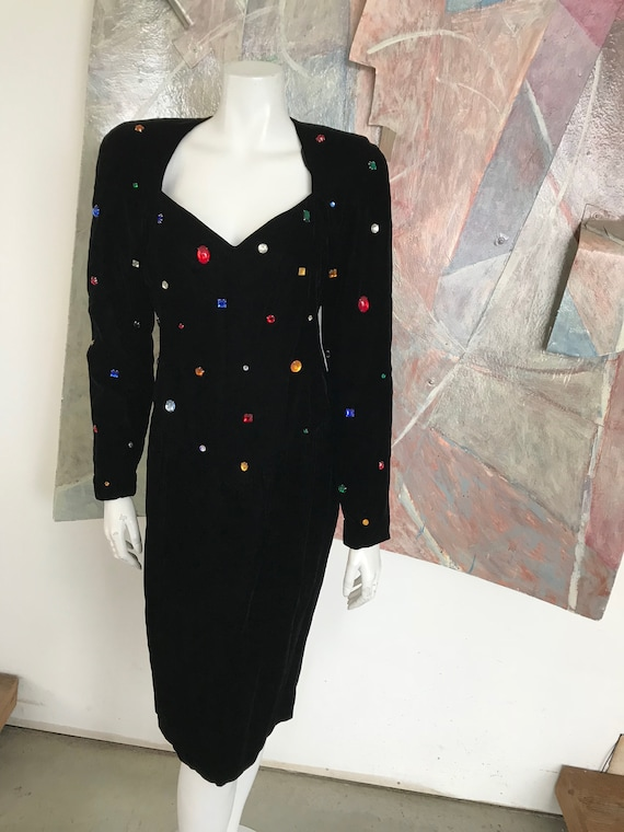 VINTAGE 1980s Sequined Prom Velvet Sequined Chetta