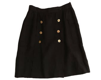 Escada by SRB Black Flax Linen Skirt with Gold Royal Buttons - Modern Size 4/6