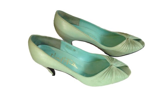 Pistachio B Heels Gathered Toe Size Size McFadden 5 6 Green Modern Open Genuine 8 B Mary Leather aqw58tAW