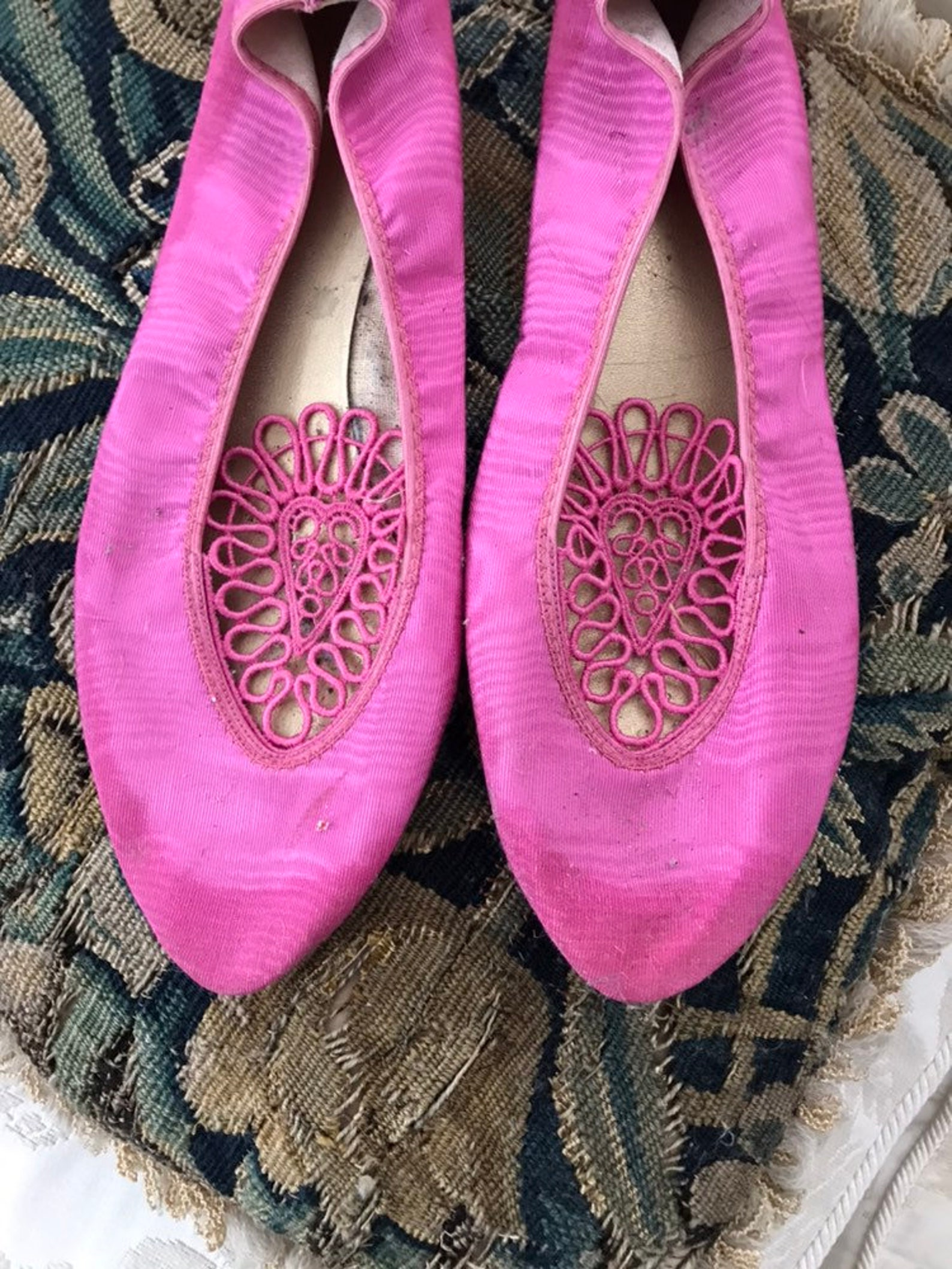 vintage gustave lace pink embroidered ballet shoes flats sz 7