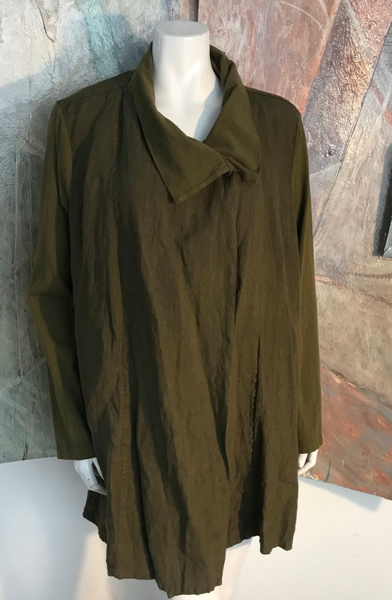 Flax Linen Olive Green Lagenlook Duster Pocketed B