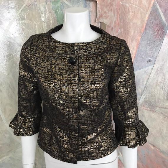 Vintage Victor Costa Gold Metallic Black Blazer Ru