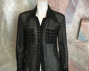 Bloomindale's Checked Gold Black Blouse Top - Modern Size Small to Medium - Bloomingdale's Blouse Top - Gold Black Top