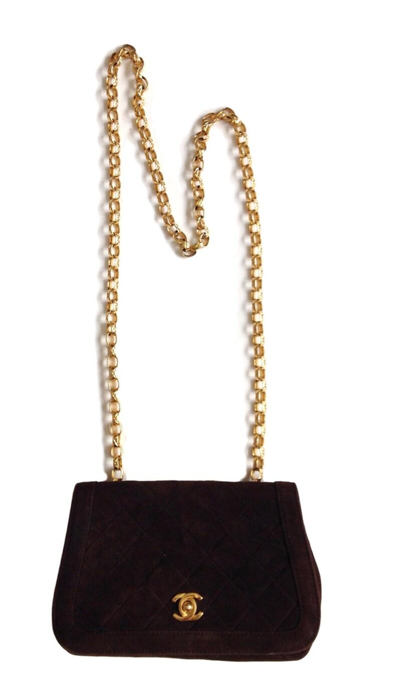 61cfaf3ad9cfd7 Chanel Vintage Brown Suede Saddle Quilted Handbag Shoulder Bag   Etsy