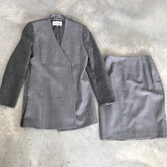 Gianfranco Ferre Grey Tweed Wool Blend Pencil Skir