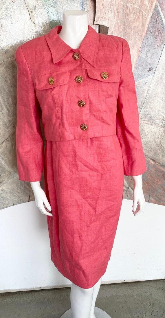Vintage Scaasi 1980s Coral Pink Linen Sheath Dress