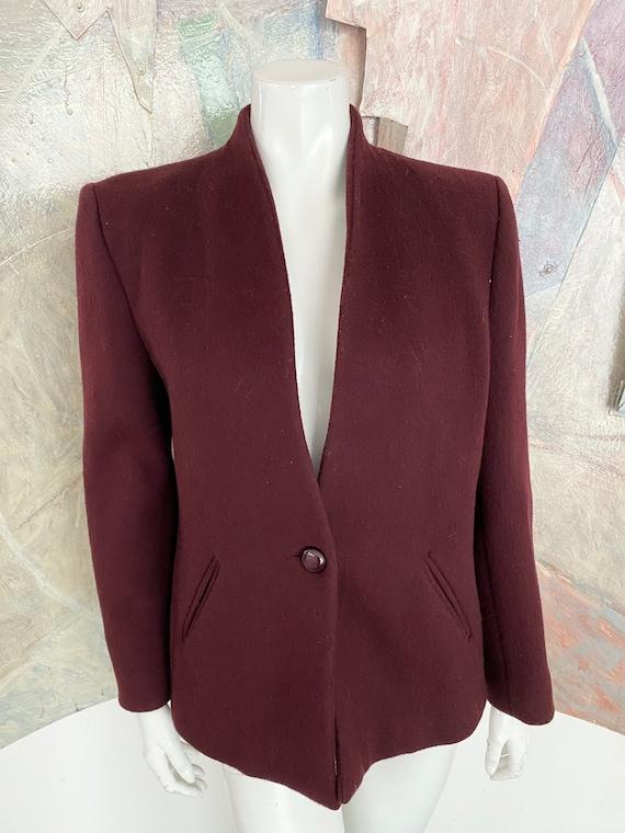 Vintage Larry Levine Burgundy Red Wool Womens Blaz