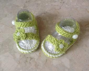 Crochet baby sandals, crochet flip flops, summer baby sandals, barefoot baby sandals, olive green baby sandals