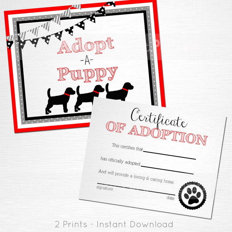 Adopt a Puppy and Certificate of Adoption Red Gray White Black Lab Dog  Birthday Party YOU PRINT