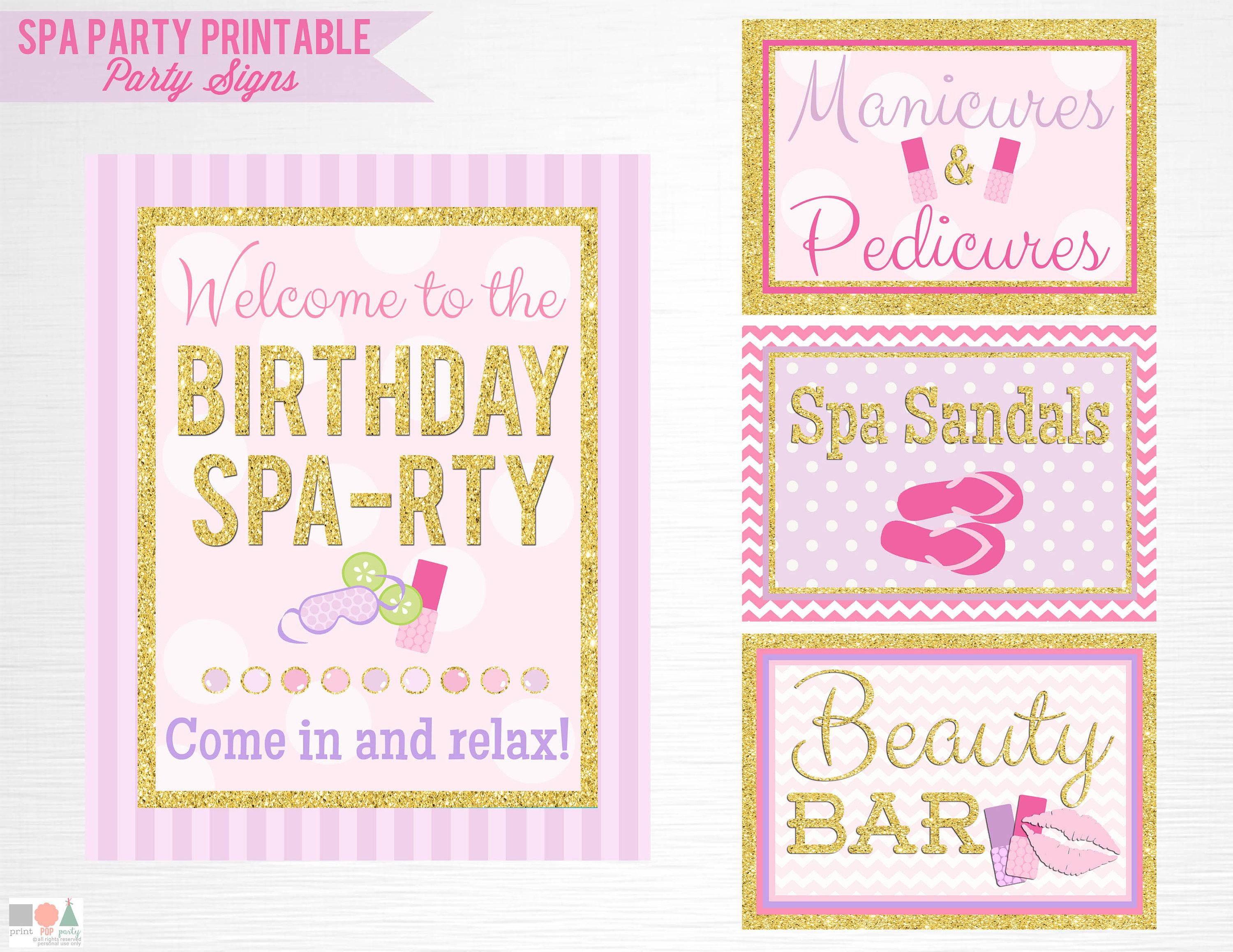 Gold Spa Birthday Party Printable Signs Door Sign Facials Spa | Etsy