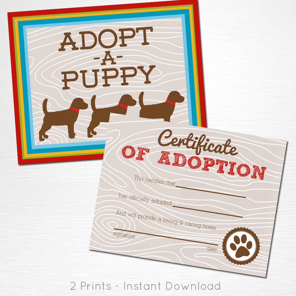 Adopt A Puppy And Certificate Of Adoption Brown Red Blue Green Etsy